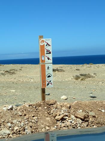 Verbotsschild Landschaftsschutzgebiet Fuerteventura